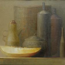 Still life with melon. oil on canvas, 60 W x 60 H cm, 2012