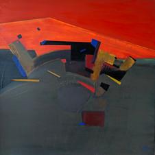 The sky line 3, oil on canvas, 80 W x 80 H cm, 2020