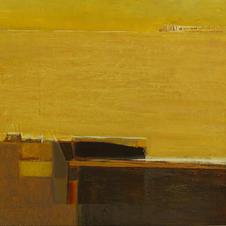 Yellow. (Sunny days), cardboard, oil. 70 W x 70 H cm, 2014