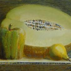 Yellow still life. oil on canvas, 60 W x 45 H cm. 2013