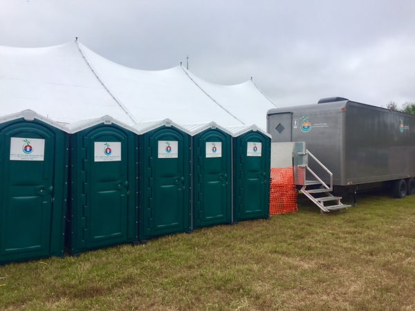 Restroom trailer and portable toilets from JW Craft, Naples, FL