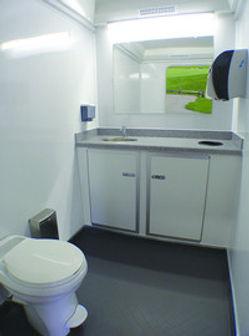Inside of a portabe restroom trailer - JW Craft. Naples, FL