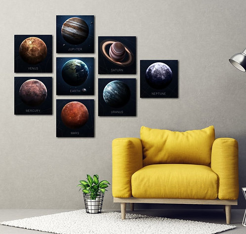 Solar System 8 Pieces Combined MDF Printings