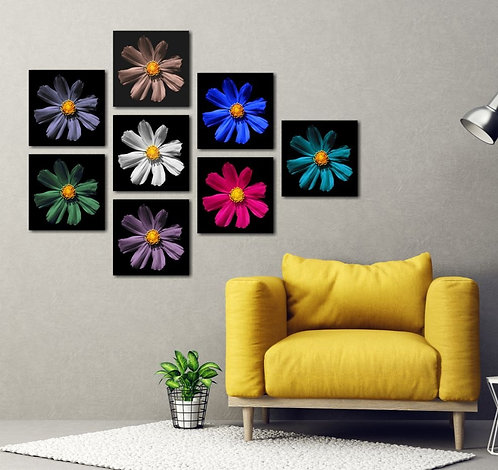 Colorful Flowers 8 Pieces Combined MDF Printings