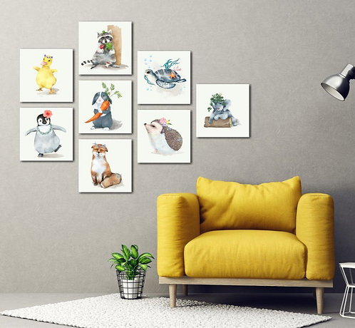 Cute Animals 8 Pieces Combined MDF Printings