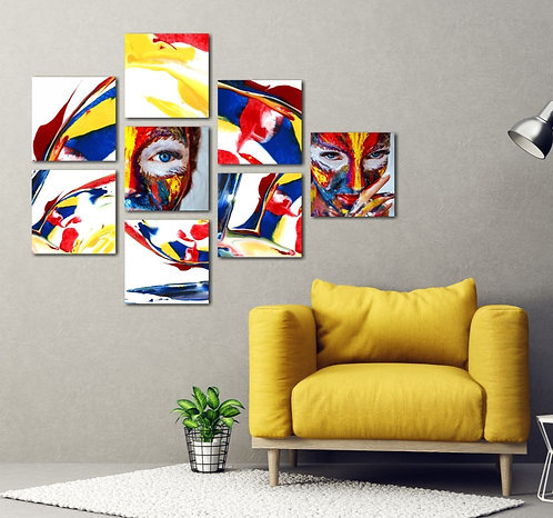 Women Portraits 8 Pieces Combined MDF Printings