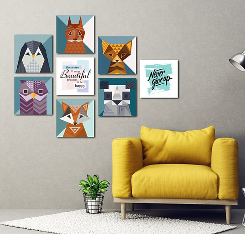 Geometric Animals 8 Pieces Combined MDF Printings