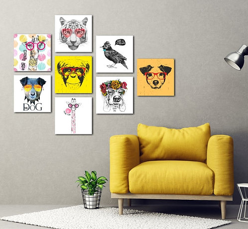 Animals 8 Pieces Combined MDF Printings