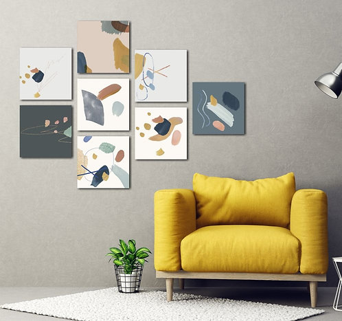 Colorful Geometric Drawings 8 Pieces Combined MDF Printings