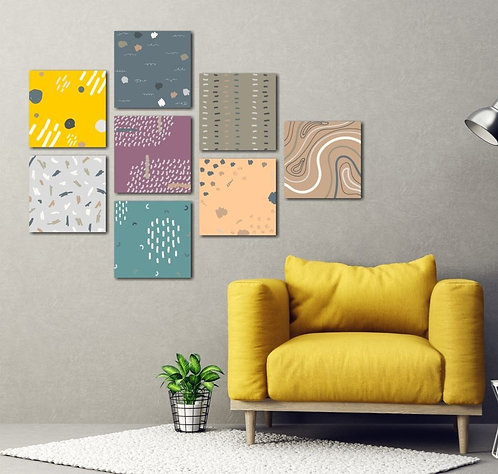 Patterns 8 Pieces Combined MDF Printings