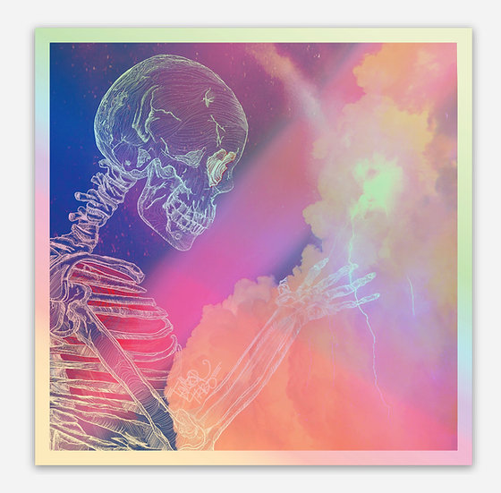 Holographic Shocking Skeley Sticker