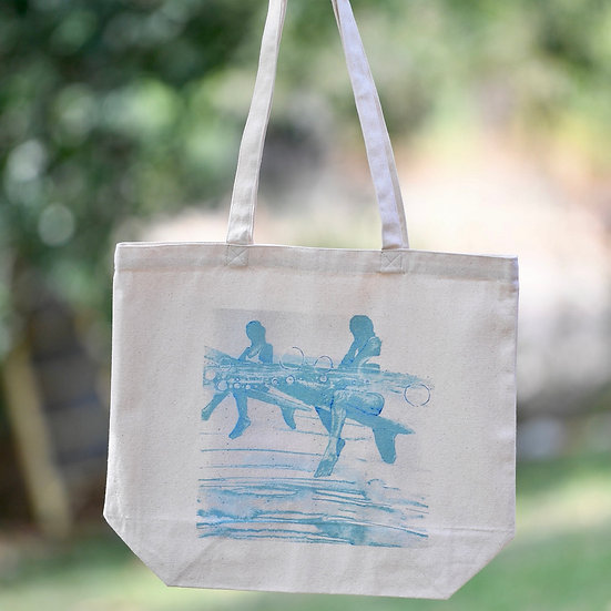 """""""bubbles"""" gusseted cotton tote bag"""