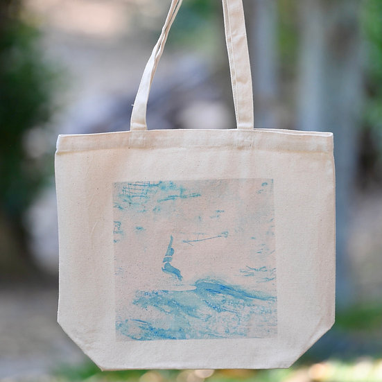 """""""reaching for 5"""" gusseted cotton tote bag"""