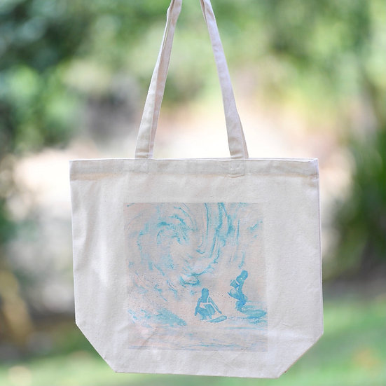 """""""party of two: swirl"""" gusseted cotton tote bag"""