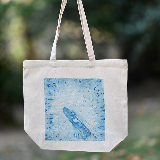"""""""from above"""" gusseted cotton tote bag"""