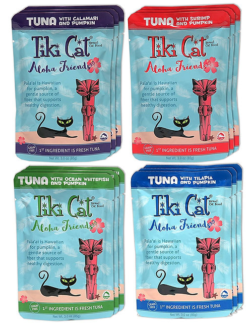 Tiki Cat Aloha Friends Grain Free Wet Cat Food Variety Pack - 4 Flavors - 12 Tot