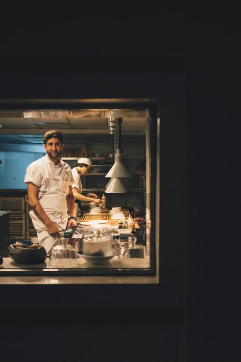 Chef Pedro Bargero at the pass.