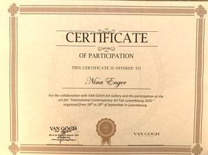 Certificate 'Van Gogh Gallery'
