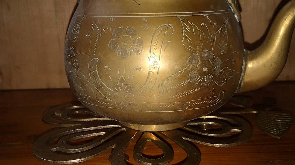 BRASS TEAPOT AND STAND