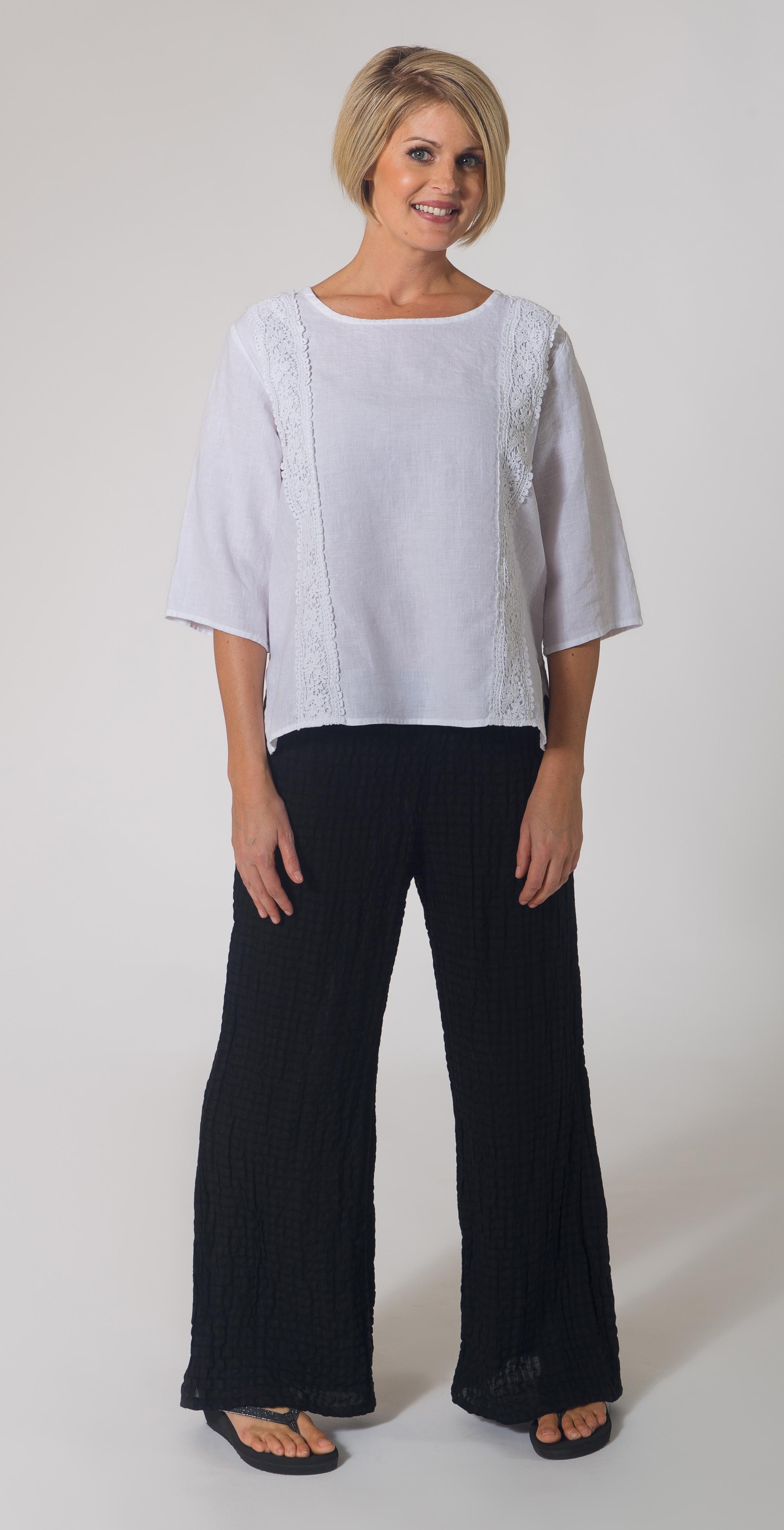 Linen & Lace Top / Seersucker Pant