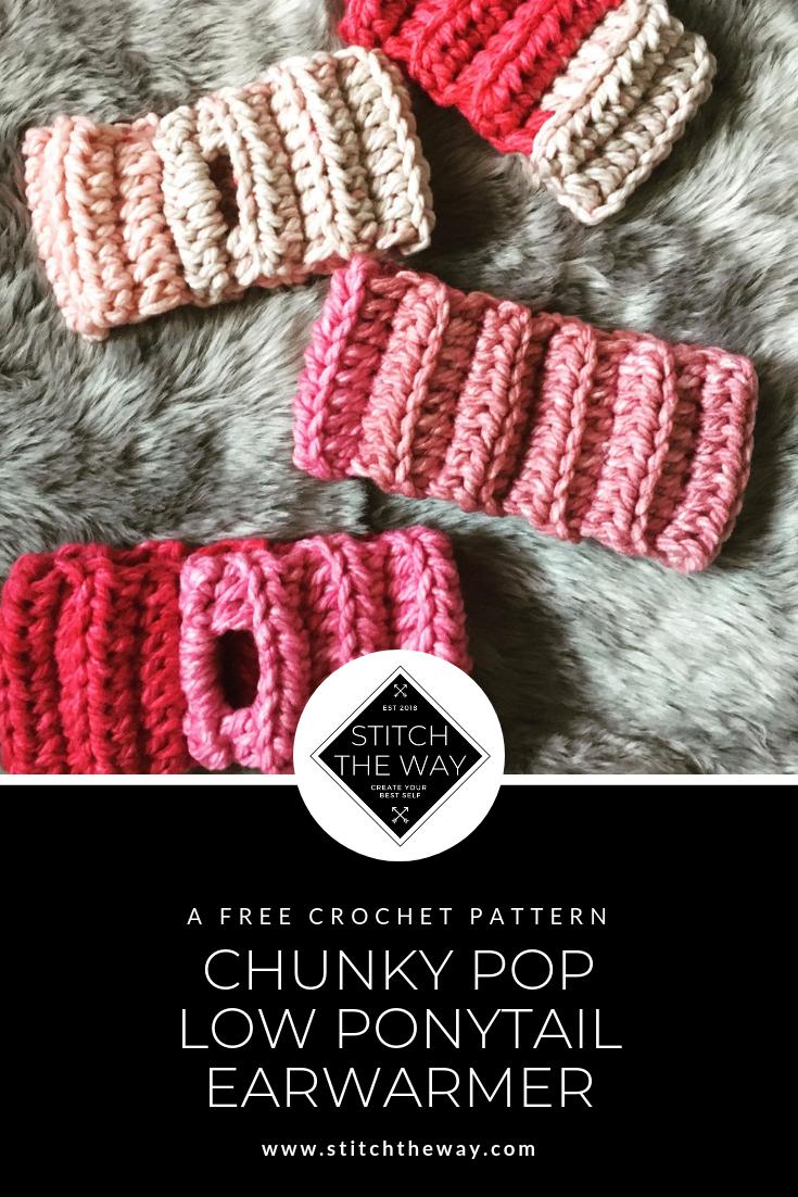 Chunky Pop Low Ponytail Earwarmer Free Crochet Pattern