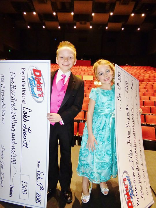 Youth Winner, Caleb Leavitt, 13, piano, and Youth Runner-Up, Ellie Felice Seegmiller, 6, voice
