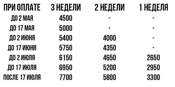 Цены 4 смены лагеря