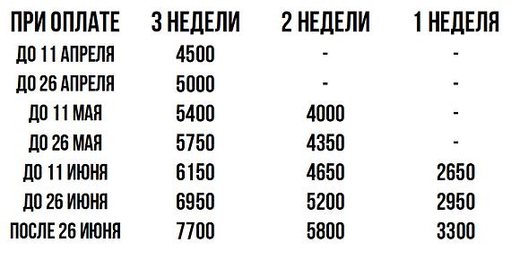 Цены 3 смены лагеря