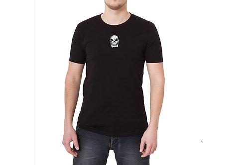 SP BLACK T SHIRT WHITE SKULL LOGO