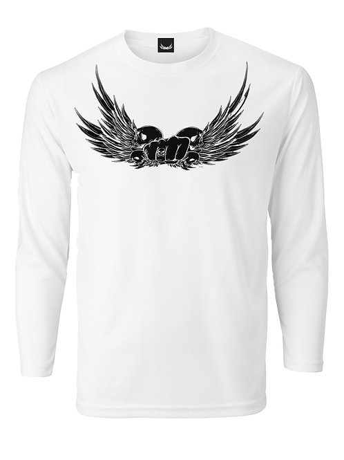 SP WHITE LONG SLEEVE BLACK SKULLWING