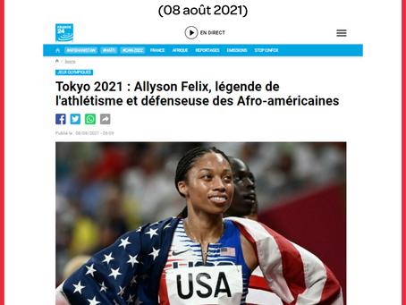 """Article France 24-AFP : """"Allyson Felix, légende de l'athlétisme et défenseuse des Afro-américaines"""""""