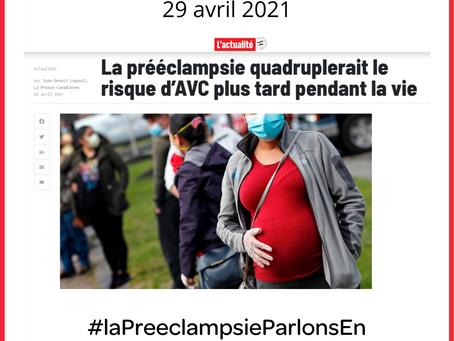 """Article """"L' Actualité"""" (Canada) : pré-éclampsie et risques cardiovasculaires à long terme"""