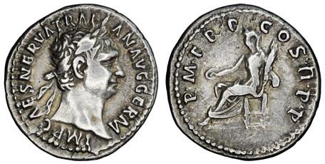 Trajan Denarius - Vesta Seated (RIC 9), 98-99 AD