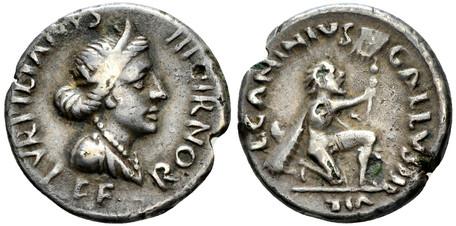 Augustus Plated Denarius - Bearded Barbarian Offering Vexillum (Hybrid, RIC 288/416), 12 BC