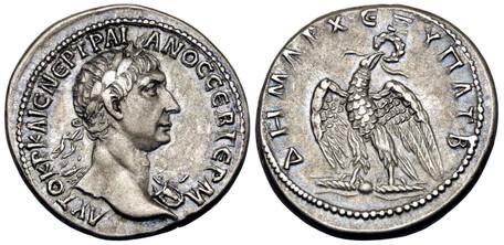 Trajan Tetradrachm - Eagle on Thunderbolt (Prieur 1487, this coin), 98-99 AD