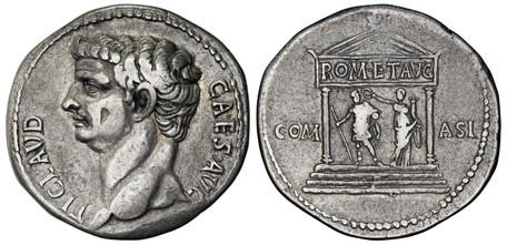 Claudius Cistophorus - Claudius and Fortuna in Temple (RIC 120), 41 AD