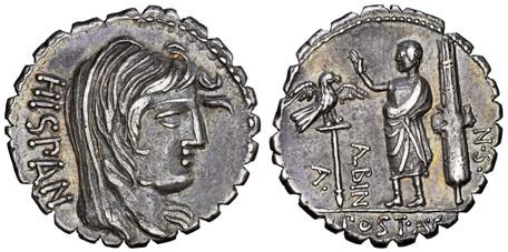 A. Postumius Albinus Denarius Serratus - Hispania, Togate Figure with Legionary Eagle (Crawf. 372/2), 81 BC