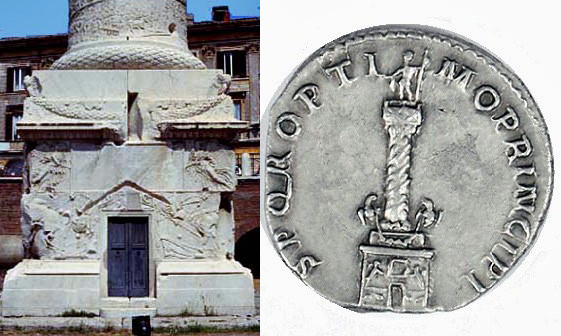 Comparison of the base of Trajan's Column and its depiction on a contemporary silver denarius.
