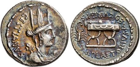M. Plaetorius Cestianus - Curule Chair with Scorpion (Crawf. 409/2), 67 BC
