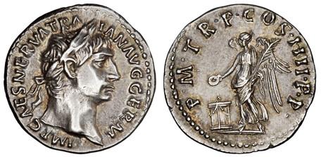 Trajan Denarius - Victory Sacrificing over Altar (RIC 67), 101-102 AD
