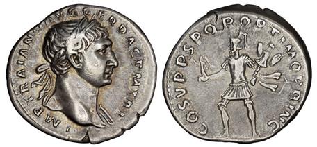 Trajan Denarius - Mars Advancing (RIC 114), 103-111 AD
