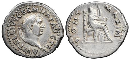 Vitellius Denarius - Vesta (RIC 107), 69 AD