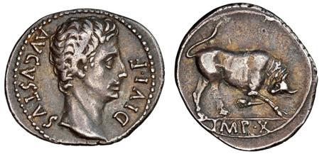 Augustus Denarius - Butting Bull (RIC 167a), 15 BC
