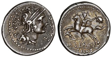M. Sergius Silus Denarius - Horseman Holding Severed Head (Crawf. 286/1), 115 BC