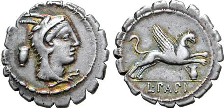 L. Papius Denarius Serratus (2) - Juno Sospita with Griffin (Crawf. 384/1), 79 BC