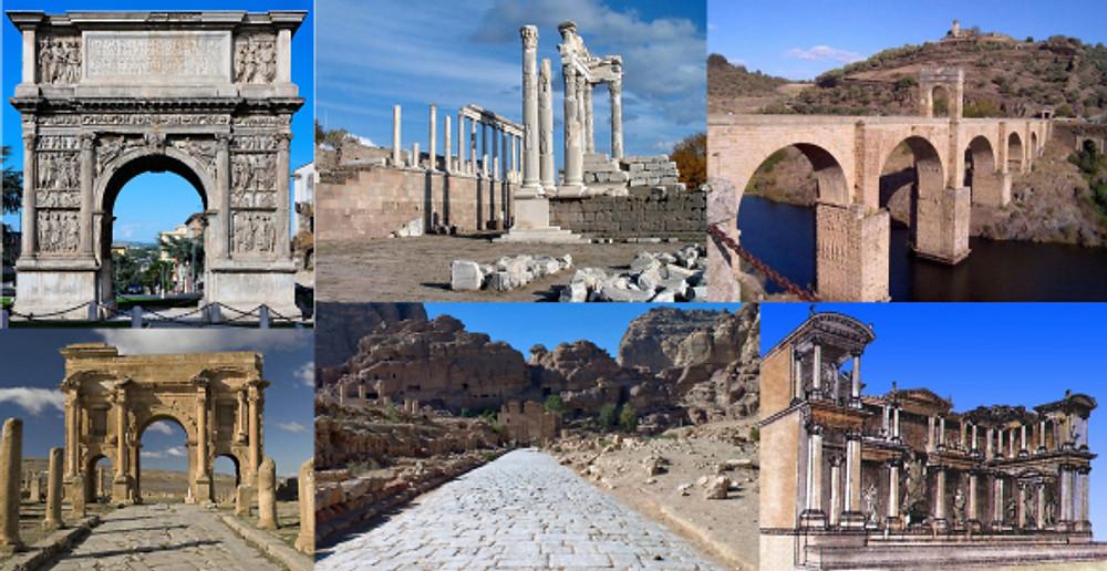 Works completed during Trajan's reign. Top Row: Arch at benevento, Trajaneum at Pergamon, Alcantara Bridge Bottom Row: Arch of Trajan at Timgad, Roman Road at Petra, Fountain of Trajan at Ephesus
