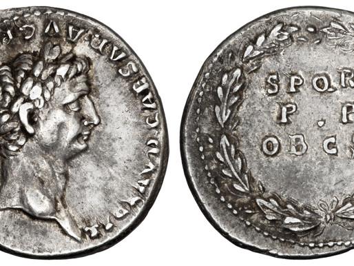 A Denarius of Claudius - 'for having saved the citizens'
