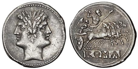 Anonymous Didrachm (Quadrigatus) - Janiform head and Jupiter in Quadriga (Crawf. 30/1), 225 BC