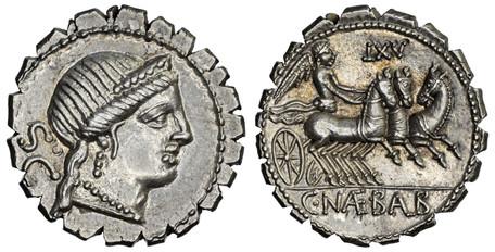 C. Naevius Balbus Denarius Serratus - Victory Riding in Triga (Crawf. 382/1b), 79 BC