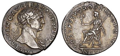 Trajan Denarius - Vesta (RIC 108 var), 103-111 AD